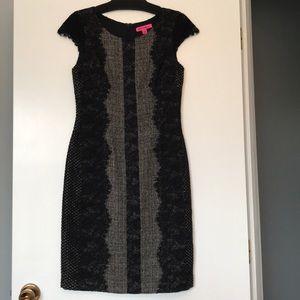 Black & Gray Cap Sleeve Betsey Johnson Dress